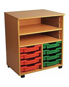 Double Bay Mobile Art Storage Unit with 8 Trays