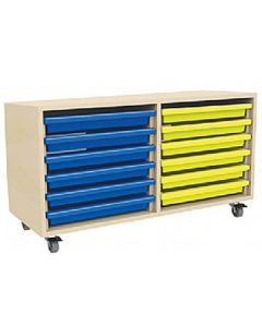 Double Column A3 Art Storage Unit with 12 Gratnells Trays
