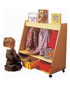 Mobile Wooden Coat and Tray Storage Unit