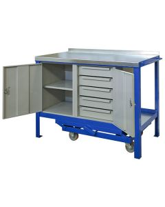 Mobile Workbench with Cupboard - 5 Drawers