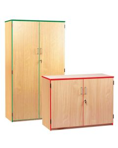 Monarch Coloured Edge Storage Cupboard - 768 High with Red Edge