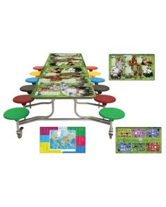 Rectangular Mobile Smart Top Folding School Table and Seating