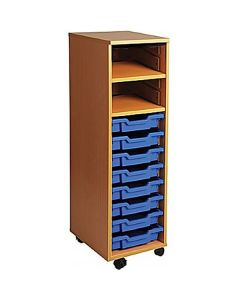 Single Bay Mobile Art Storage Combi Unit with 8 Trays