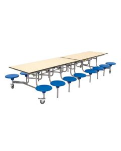 Mobile Folding Rectangular School Table Seating Unit with 16 Seats