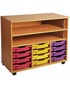 Triple Bay Mobile Art Storage Unit with 12 Trays