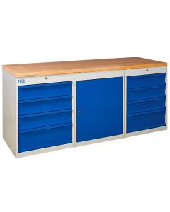 TUFF Pedestal Bench - 1 Cupboard and 8 Drawers