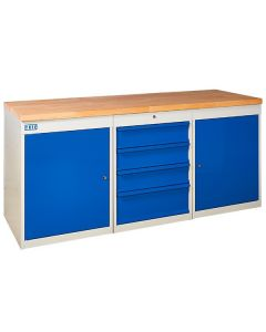 TUFF Pedestal Bench - 2 Cupboards and 4 Drawers