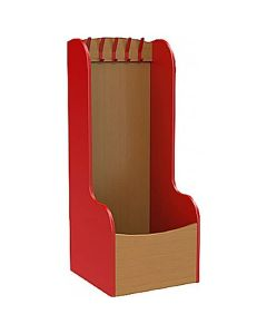 Wooden Cloakroom Trough with 5 Hooks - Red