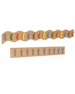 Wooden Coat Rail - Straight (10 Blue) and Wavy (15 Multicoloured)